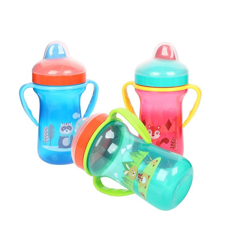 300ML Infant Baby Kids PP Material With Handle Cup Cute Cartoon Animal Pattern Solid Color Duckbill Mouth Drinking Water Bottle