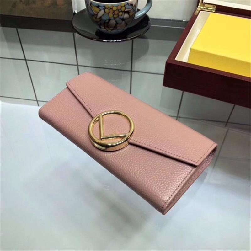 New Hot Brand Womens Wallets with Letter Classic Black Pink Long Wallet Hot Sale New Arrival Size 19CM 10CM for Lady Genuine Leather Fashion