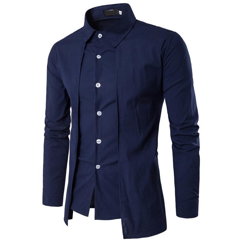 NEW 2020 Мода весна осень Поддельные два кусок вскользь Slim Fit однобортный смокинг официанта отеля вечерние рубашки