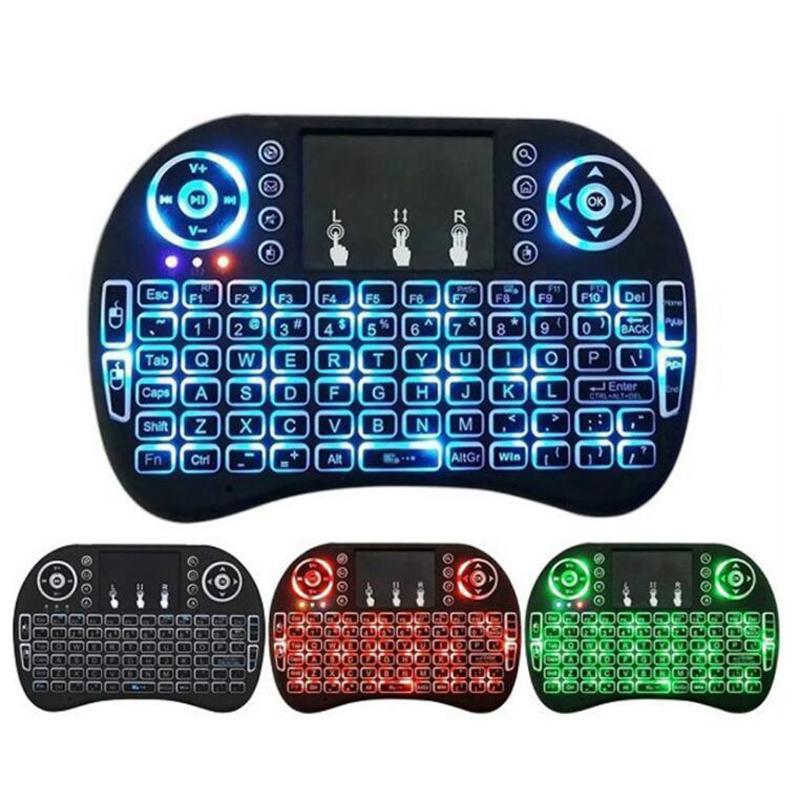 3 색 미니 RII 스마트 안드로이드 TV 박스 노트북 태블릿 PC 용 무선 키보드 2.4G 영어 에어 마우스 키보드 원격 제어 터치 패드를 I8