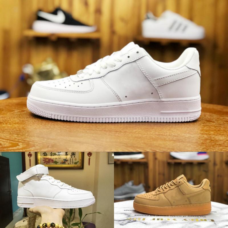 2020 nuevos zapatos de los hombres del diseño del monopatín Fuerzas baratos de baja Uno unisex de punto 1 Euro Aire mujeres de cuero de alta Todos Blanco Negro Rojo zapatos de moda Trainer