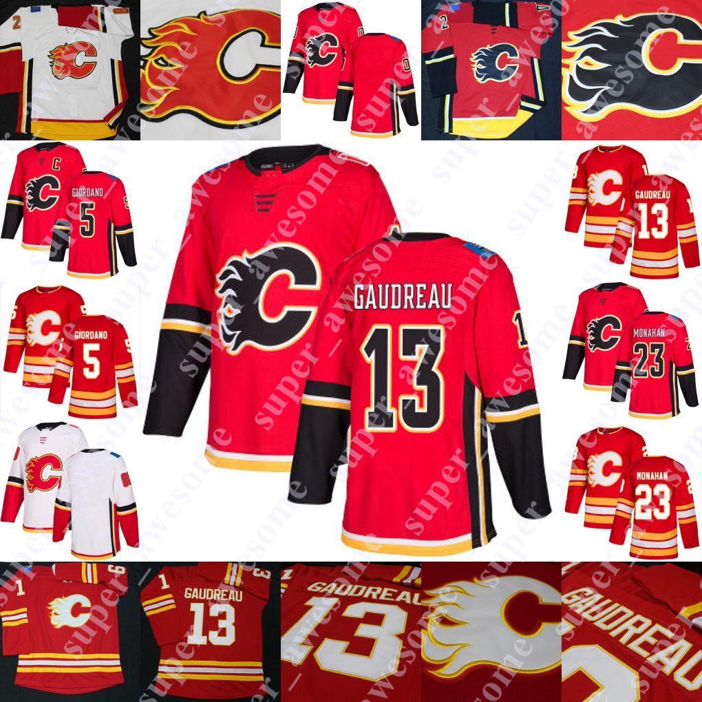 Johnny Gaudreau Jersey Sean Monahan Mark Giordano Hockey Jerseys vermelho em branco