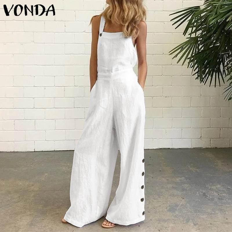 Sexy Rompers Women Office Overalls Sleeveless Square Collar Party Playsuits 2020 VONDA Female Casual Wide Leg Pants Plus Size