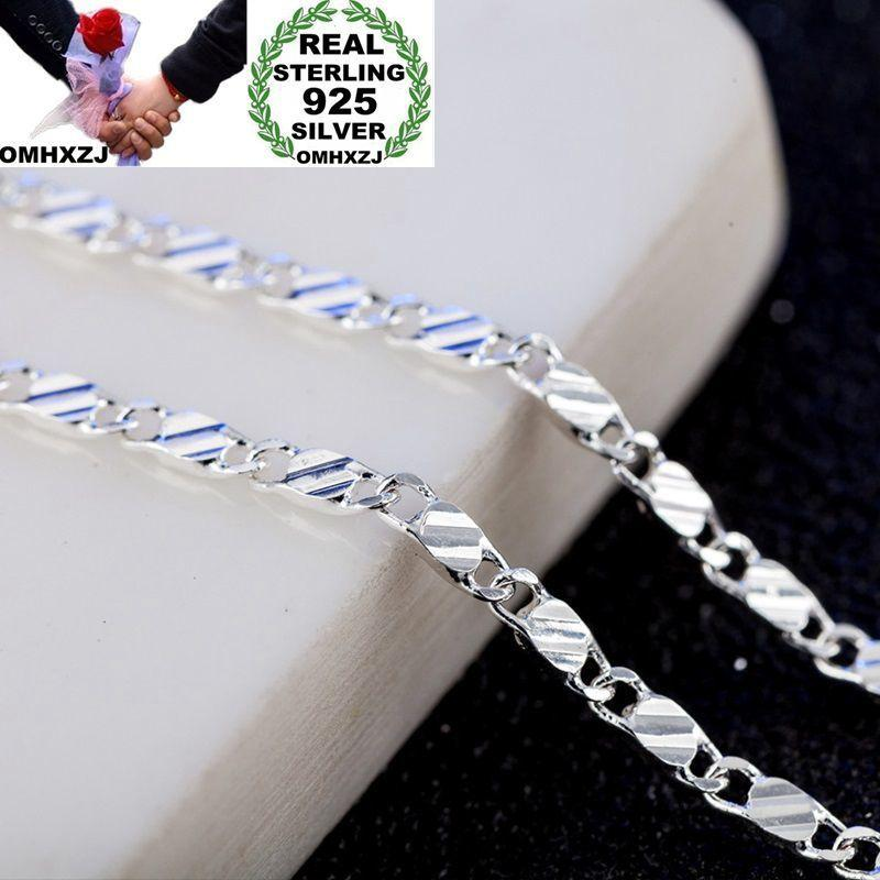 OMHXZJ Wholesale Personality Fashion OL Woman Girl Party Gift 2MM Flat Chain 925 Sterling Silver 18KT Gold Chain Necklace NC176