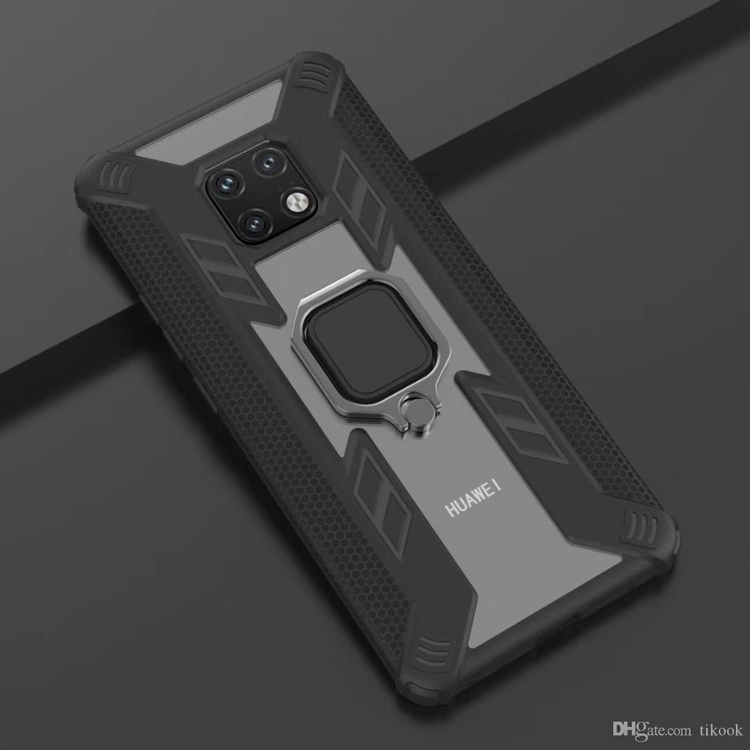 Custodia protettiva per ghiera in metallo con supporto antiurto per custodia antiscivolo a doppio strato per Huawei P30 / Nova5 / Mate20 / PRO / Lite / Y6 / Y7 / Y9 / 2019