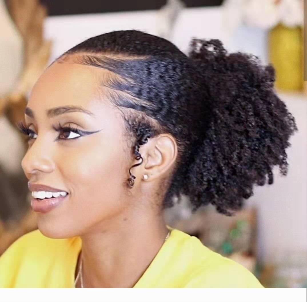 Mink brasileira Virgin 3b 4c afro Clipe Kinky Curly cordão rabo de cavalo cabelo humano em extensões Natural Color 1 Parte 100g-160g