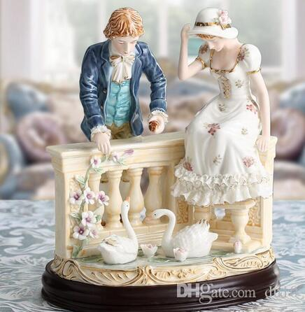 Luxus Keramik Home Hochwertige Dekoration europäischen Charakter Paar Schwan Ort Keramik Wohnzimmer Luxus Hochzeitsgeschenk