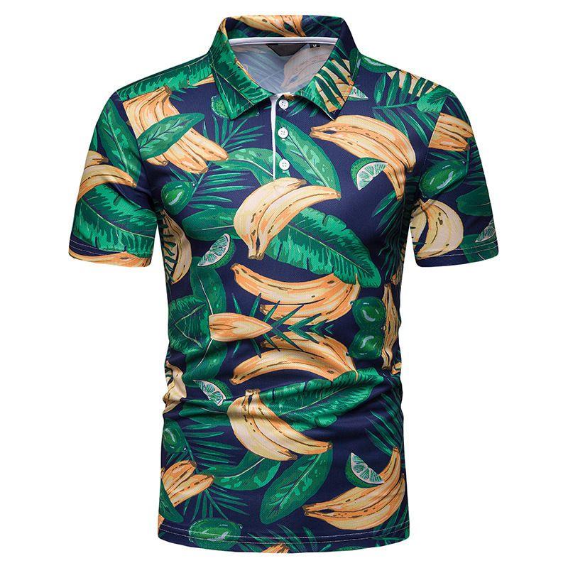 Cool2019 - Polo banane pour homme imprimée à manches courtes, sans doublure, vêtement de dessus loisirs, bouton de loisirs, décoration 1101 -pl72.
