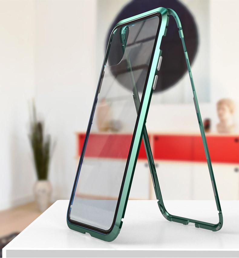 الامتزاز المغناطيسي الزجاج المقسى حالة الظهر لفون 11 12 برو ماكس XR XS X 8 7 6S 6 5 SE غطاء