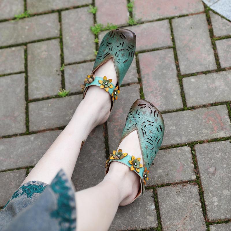 высокое качество 2020 женщины лето натуральная кожа цветок туфли на низком каблуке Женские сандалии тапочки ручной работы слайды 82907