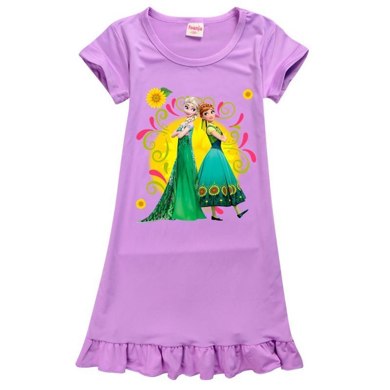 Baby Prinzessin Kleider-Eis-Silk Drucken Schneekönigin gefroren Cosplay Eis-Schnee-Säuglingsbaby-Kleinkind-Mädchen Nachthemd Short Sleeve Nachtkleid