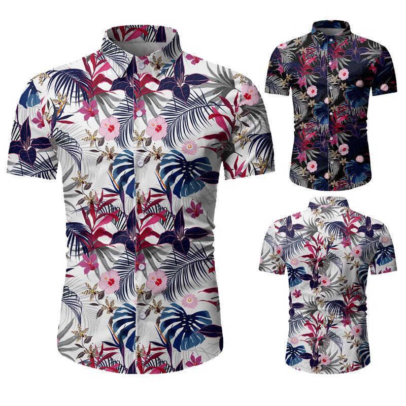 2020 Summer гавайке Мужской Повседневный Камиза Masculina Printed Мода Пляж с коротким рукавом рубашки верхней части Горячие продажи плюс размер