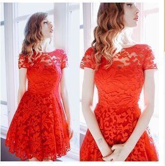 5xl Plus Size Dress Fashion Femmes Élégant Doux Hallow Out Dentelle Dress Sexy Party Princesse Slim Robes D'été Robes Rouge Bleu