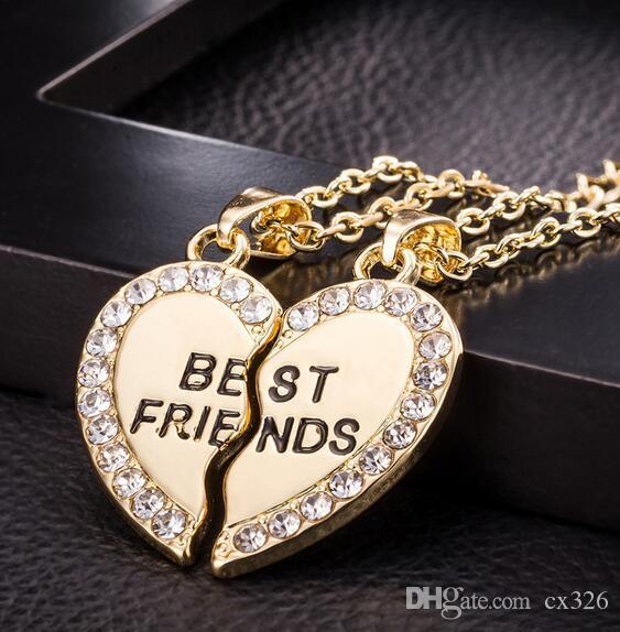 Jewelry Unisex 2 Pcs Bff Necklace Best Friend Mens Womens Heart Pendant Necklace Couple Harf Kolye Gold color Chain #1