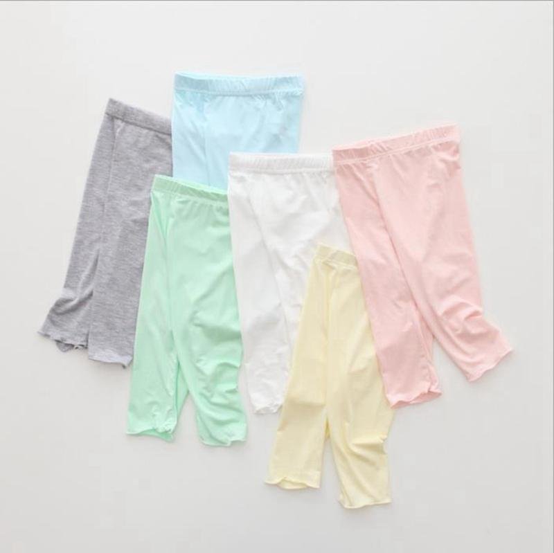 Summer Girls Leggings Modal Cotton Children Knee Length Pants Candy Color Kids Bottoms Pants Cropped Trousers Kids Clothing 12 Colors DW5430