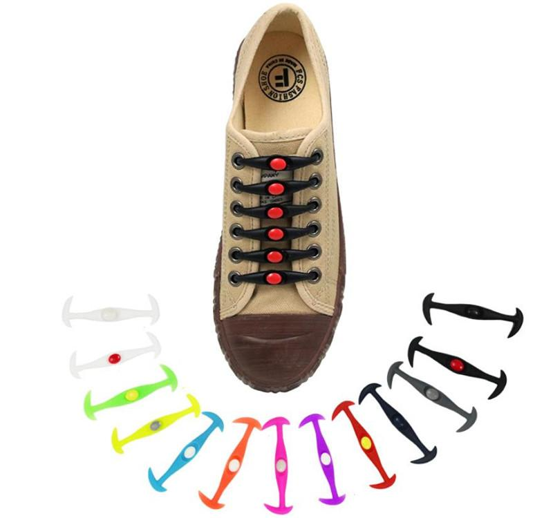 12pcs/lot Silicone Ox Horn type Shoelaces Elastic Shoe Laces Special No Tie Shoelace for Men Women Lacing Rubber Zapatillas 12 Colors