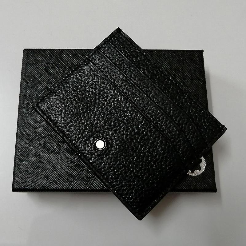 Luxurys Üst Gerçek Deri Mt Markalar Kart Paketi Erkek Tasarımcılar Siyah Klasik Kart Sahibi Man Kısa Kredi Kimlik Kartı Cüzdan Hediye ile Kutusu