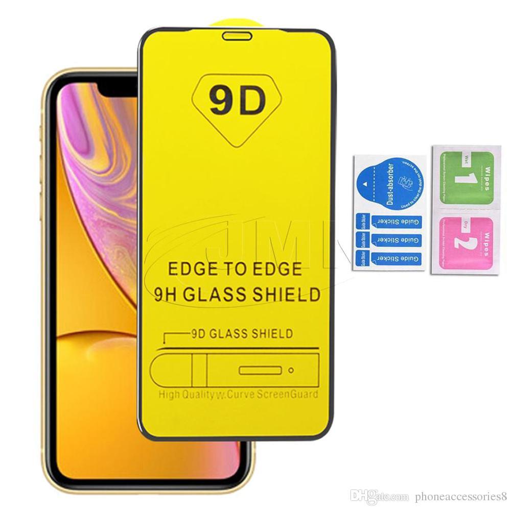 9D copertura completa Colla vetro temperato schermo del telefono della protezione di iPhone per 11 XR X XS MAX 8 7 6 PER NUOVO IPHONE SE 2020 Samsung A01 A11 A21 A31 A41