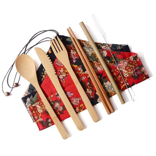 Bambus Besteck Set Tragbare Besteck-Sets 7PCS / SET-Messer, Gabel, Löffel Stroh Stäbchen Studenten Geschirr Set Reise Geschirr Sets w30r