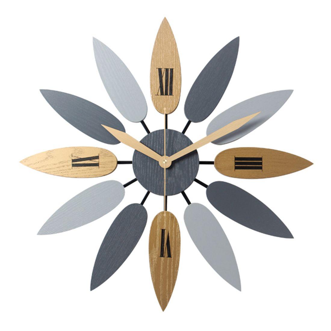 52 см высокое качество уникальный скандинавский стиль лист шаблон немой кварцевые настенные часы ретро бесшумные часы краткое домашний офис гостиная декор