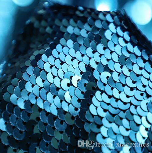 Encrypted double-sided two-tone metal fish scale sequins textiles fabric dress diy laser wedding gauze party tweed fabric A426