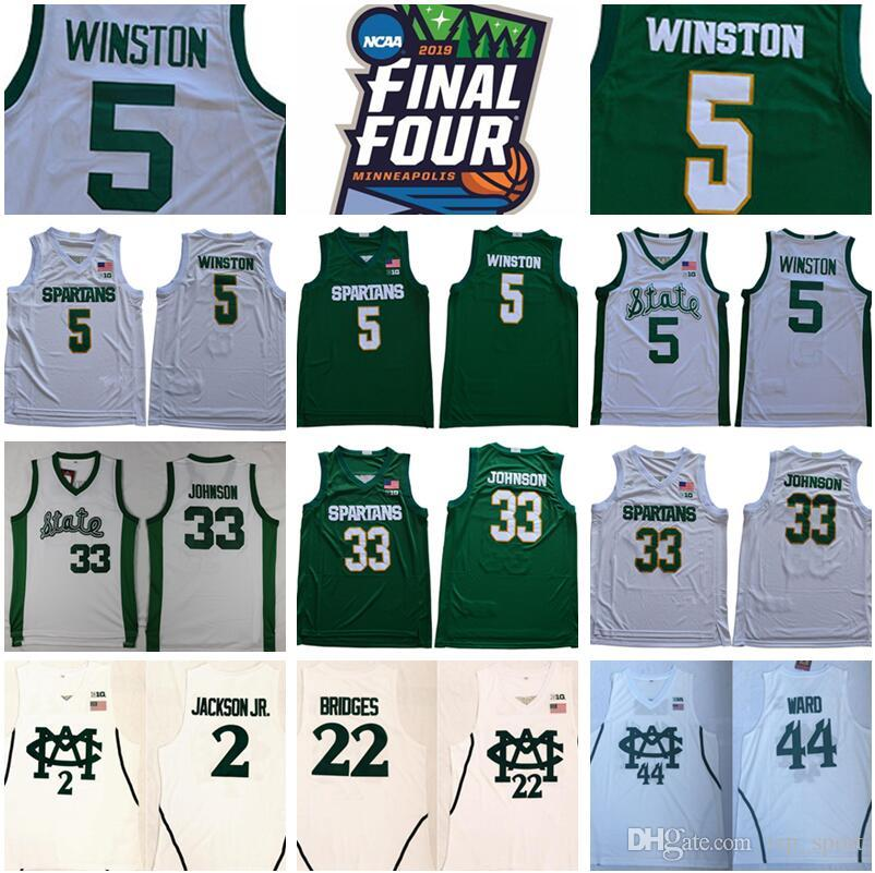 NCAA College Michigan State Spartans 5 Cassius Winston Jersey 33 Magic Johnson Jaren Jackson JR Miles Bridges Nick Warn Green Msu 농구