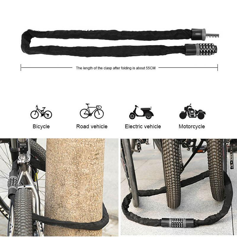 Bike Lock Security Anti-theft Bicycle Chain Lock-No Keys Required Open with