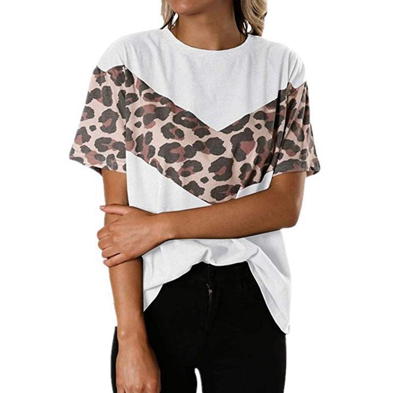 여성의 표범 인쇄 인쇄 맨 위로 라운드 넥 풀오버 반팔 T 셔츠