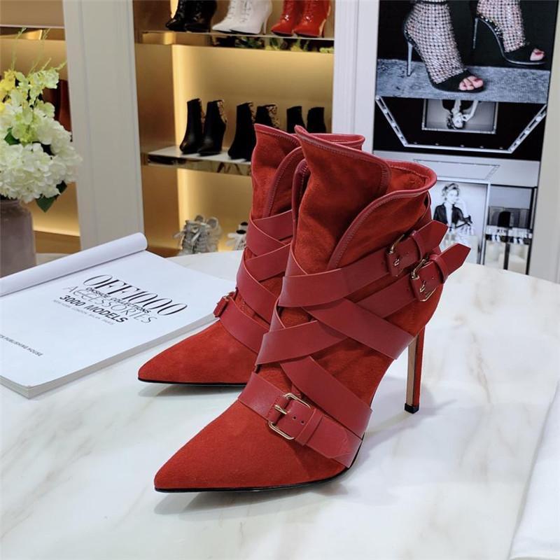 Nouveau Marque Femmes de bureau de luxe Bottes Chaussures Casual Lady Brand New talon haut 10.5cm Bottes Chaussures Rouge 911297CE