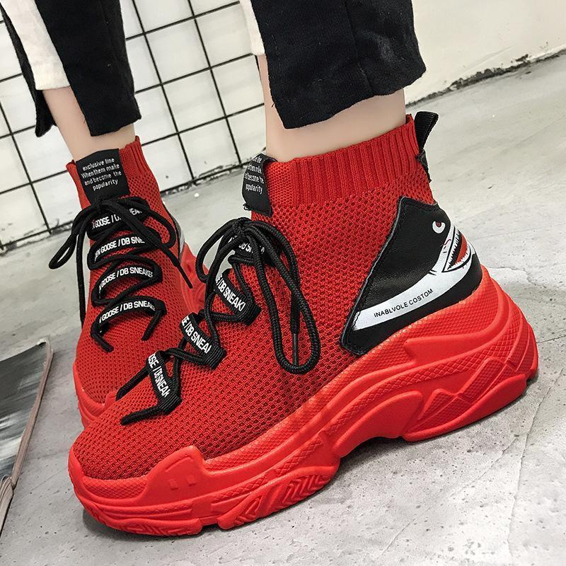 Calze Scarpe 2019 moda Shark scarpe da tennis delle donne degli uomini High Top traspirante piani della piattaforma Scarpe Donna Casual Chunky Sneakers G3