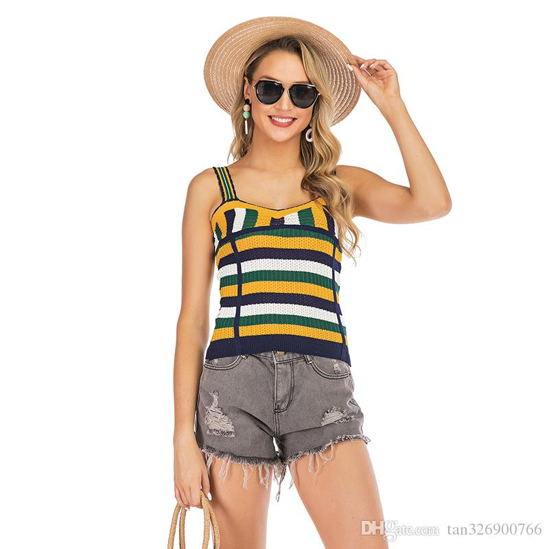 2019 summer new women's European and American color matching striped sling sweaters sleeveless short vest factory direct sales