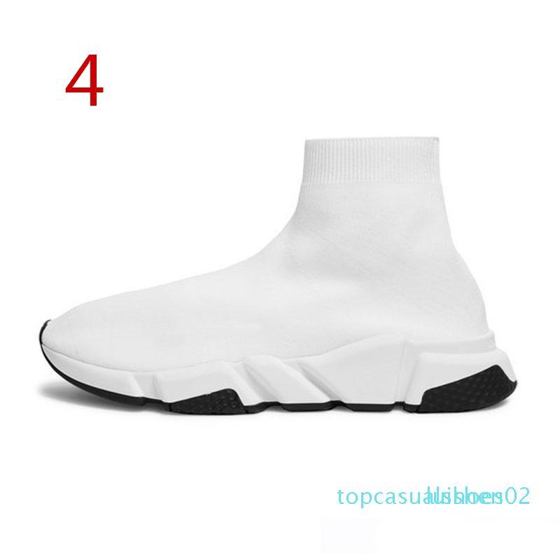 2019 Yüksek Kaliteli Tasarımcı gündelik çorap Hız Eğitmen Siyah Kırmızı Üçlü Siyah Moda Çorap Sneaker Trainer ayakkabı 36-45 t02