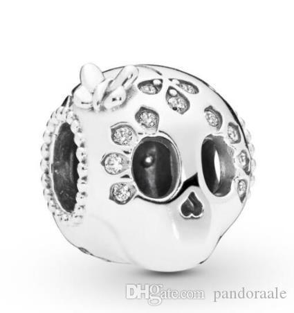 Authentique 100% 925 Charm perles en argent sterling mousseux crâne perles Fit Bracelet Femme Collier Bijoux Diy