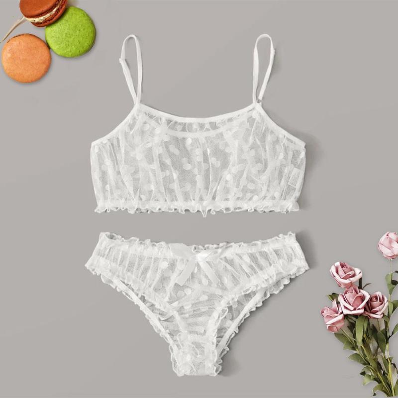 Moda 2020 NOVO Sexy Strap Top Vestido Verão Hot New Mulheres Sexy Dot malha Bra bowknot Cuecas Pijamas Preto Lingerie Set S-XL