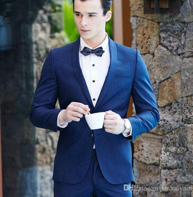New Men Business Weeding Jacket Pants 2PCS Suit Formal Blazer Sets Slim Fit Wear