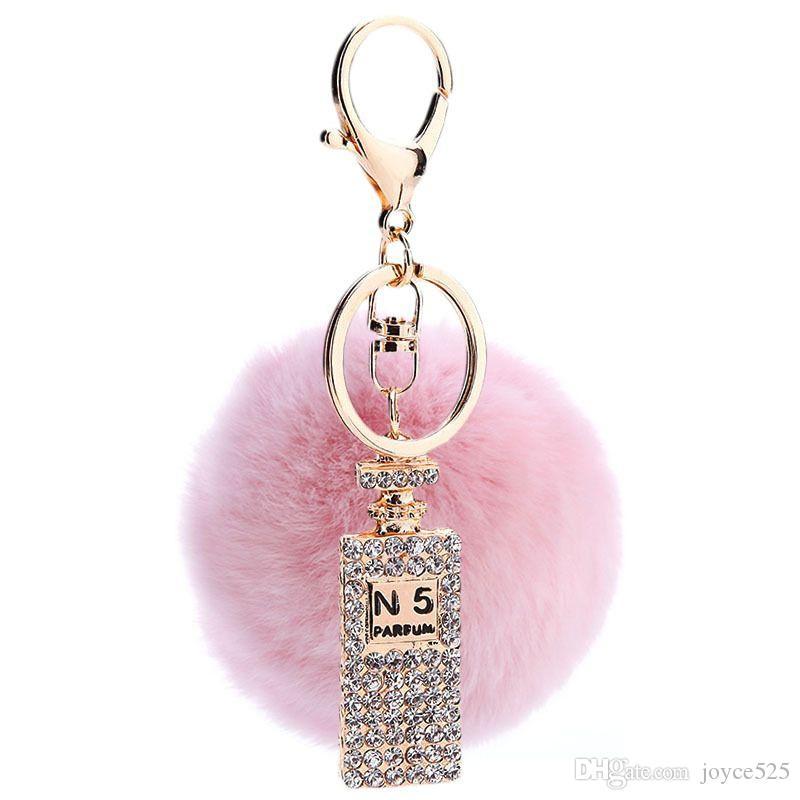 فرو الأرنب الكرة القطيفة كريستال زجاجة عطر سلسلة المفاتيح حقيبة السيارة محفظة مفتاح الدائري سلسلة قلادة المجوهرات كيرينغ هدية تذكارية بالجملة