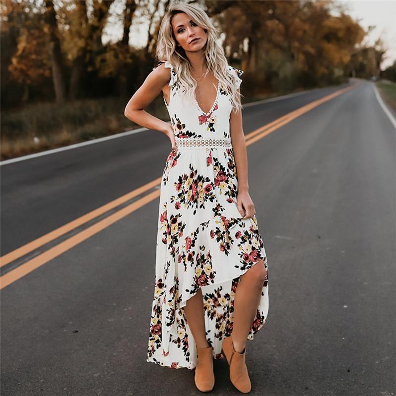 Дизайнер платья женщин Цветочные печати V шеи выдалбливают Long Привет-Lo платье лета Элегантный Повседневный отдыха Кружевные платья панелями