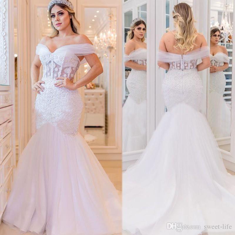 2020 Africano casamento Illusion Vestidos frisada Sereia Vestido de Noiva Plus Size Sexy Bride Trumplet Backless vestes de mariée Arábia Saudita