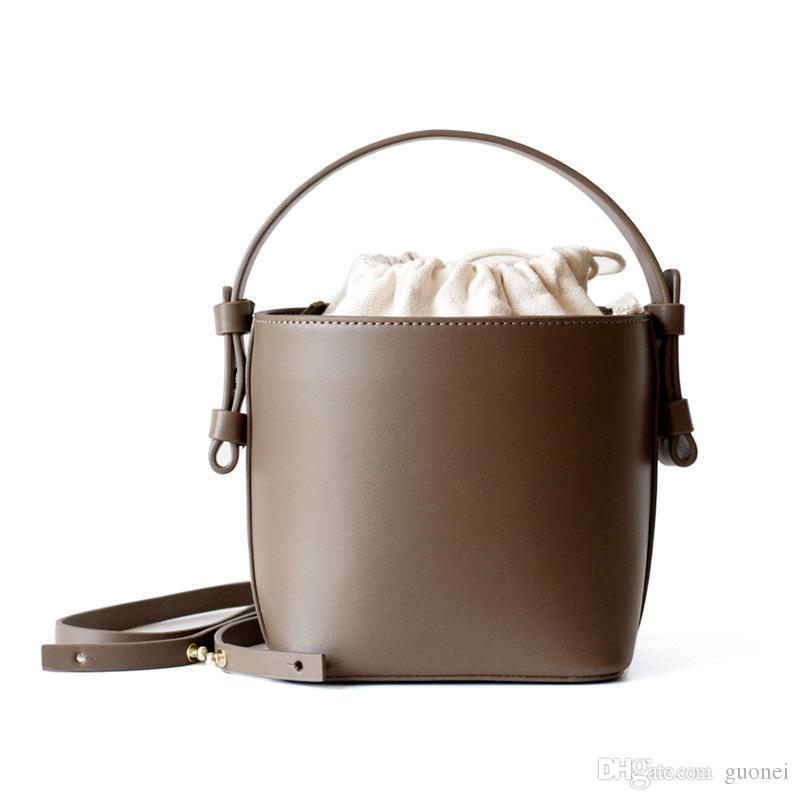 Vintage Women Bucket Bag Lady Shoulder Female Messenger Tote Type Designer-Leather Cylinder Bags Crossbody Handbag Jkfds