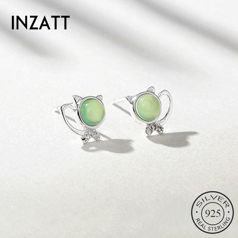 Partito delle donne di moda INZAReal argento 925 di vetro verde gatto Orecchini Per Carino animali accessori dei monili regalo