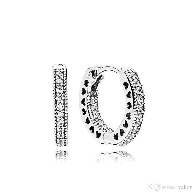 حقيقي 925 فضة هوب القرط المربع الأصلي مجموعة ل باندورا تشيكوسلوفاكيا الماس المرأة الزفاف القلب أقراط