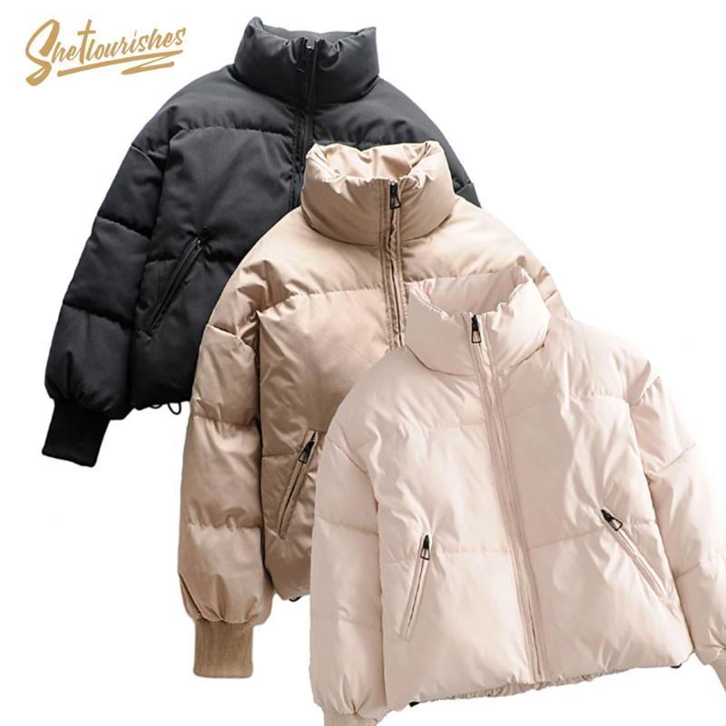 Sheflourishes Хлеб Parka зима женщины ретро водолазка с длинным рукавом пальто Негабаритного zoravicky снимите Повседневный карман молния куртки BF