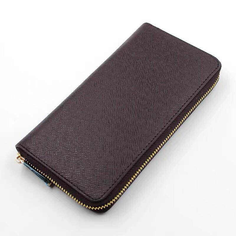 Wholesale monedero calidad hombres moneda cuero genuino clásico bolsa moneybag cuero largo bolso superior cremallera estándar cartera estándar tarjeta de moda Hold Fiui
