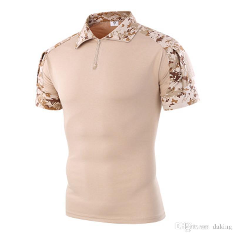 Homens Verão da cópia de Camo T-shirt verde do exército patchwork preto Outdoor Sports manga curta Camping tático militar da camuflagem zipper lapela Tees