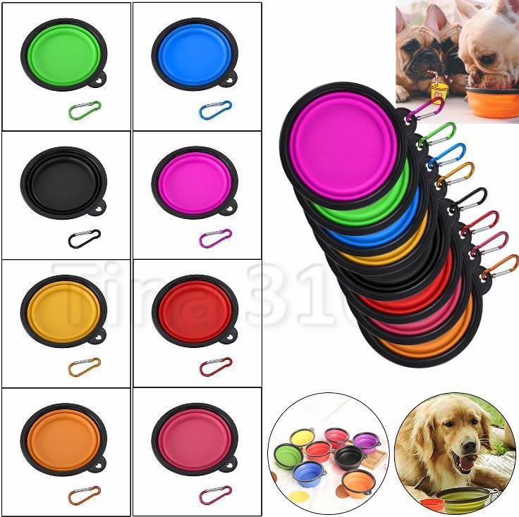 Köpek Seyahat Bowl Katlanabilir Hayvan Yemi su Kablarda Çanağı Besleme Taşınabilir Silikon Katlanabilir Köpek Kedi Bowl Köpek Pet Malzemeleri w / Hook 4778