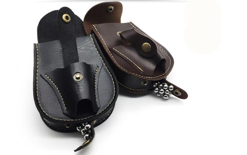 Caza a mano caja de cuero del bolso de la cintura bolsa para Catapulta Catapulta al aire libre de acero Juegos bolas de munición Willow Línea de la bolsa