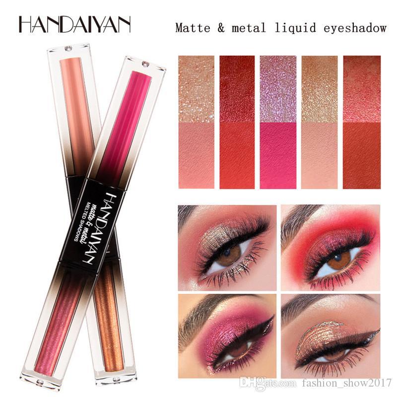 Handaiyan metallic eyeshadow pencil dual color glitter cream waterproof long lasting gold brown red shimmer eyeshadow
