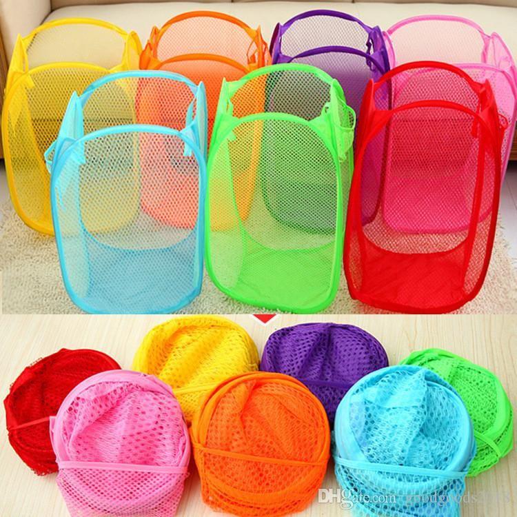 Foldable Mesh Laundry Basket Clothes Storage supplies Pop Up Washing Clothes Laundry Basket Bin Hamper Mesh Storage Bag ST789