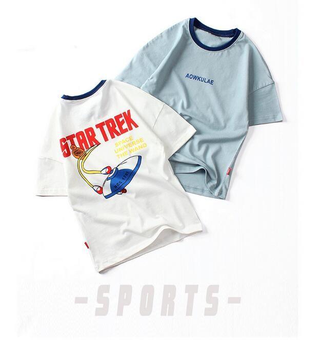Neue Kinderkleidung Rundhalsausschnitt-Druck-Kurzschluss-Hülsen-loses T-Shirt Jungen Short Sleeve Top Designer Kleidung Kinder Mädchen Kleidung