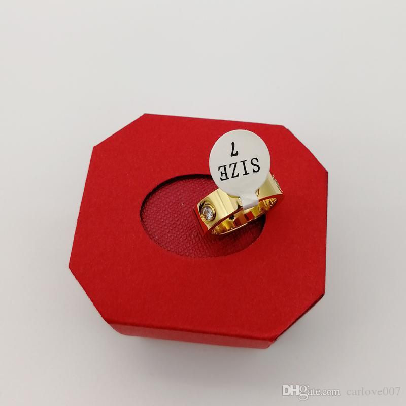 amor rosa de acero inoxidable joyas de oro anillo con la mujer de cristal para los anillos de boda de los hombres anillos de la promesa para la hembra Las mujeres compromiso de regalo con el cuadro